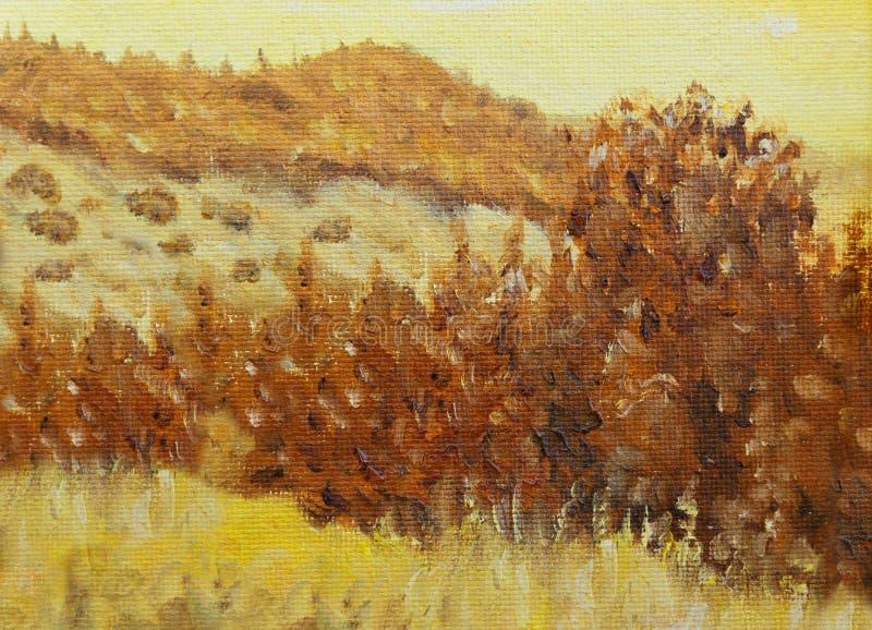 Paisaje original hermoso y árbol de la pintura al óleo en lona Color de la sepia libre illustration