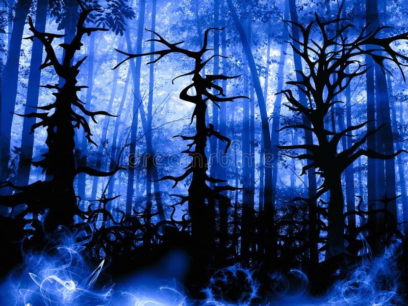 Paisaje oscuro del bosque con los árboles torcidos viejos ilustración del vector