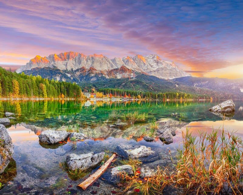 Paisaje otoñal de Faboulus en el lago Eibsee frente a la cumbre de Zugspitze al atardecer fotografía de archivo libre de regalías