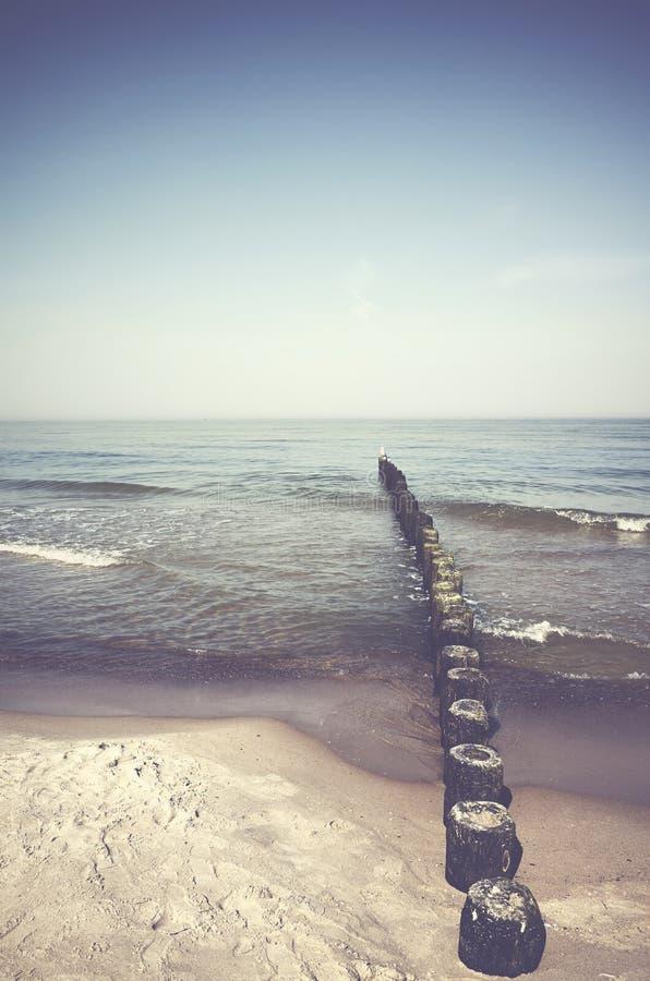 Paisaje pacífico con una ingle de madera vieja del mar fotografía de archivo