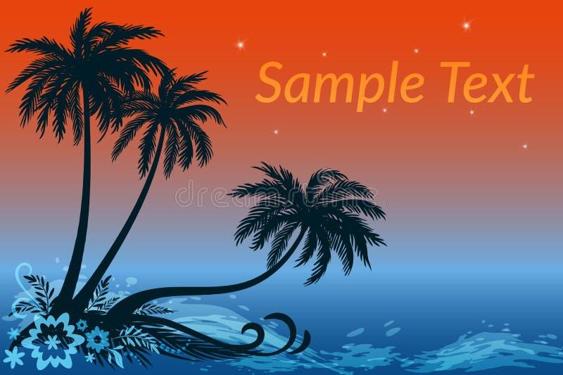Paisaje, palmas, flores y mar de la noche ilustración del vector