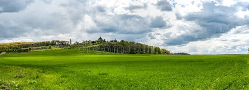 Paisaje panorámico asombroso con la hierba verde, las colinas y los árboles, cielo nublado imágenes de archivo libres de regalías