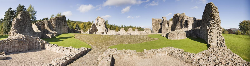 Paisaje panorámico del castillo de Kildrummy, Escocia fotografía de archivo libre de regalías