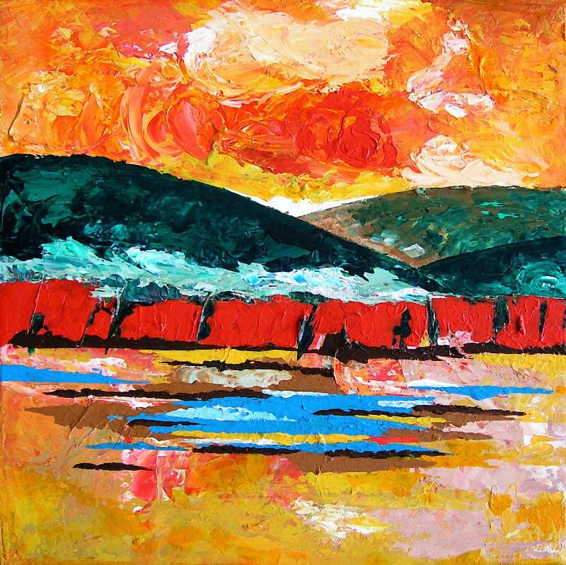 Paisaje pintado/puesta del sol abstracta en las montañas libre illustration