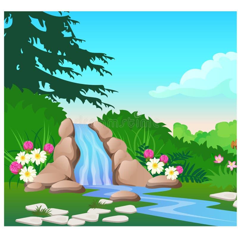Paisaje pintoresco con una cascada en el río del bosque Bosquejo de un cartel o de un cartel hermoso en el tema de libre illustration