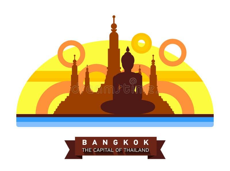Paisaje plano de Bangkok, Tailandia de la ciudad Viaje a Asia stock de ilustración