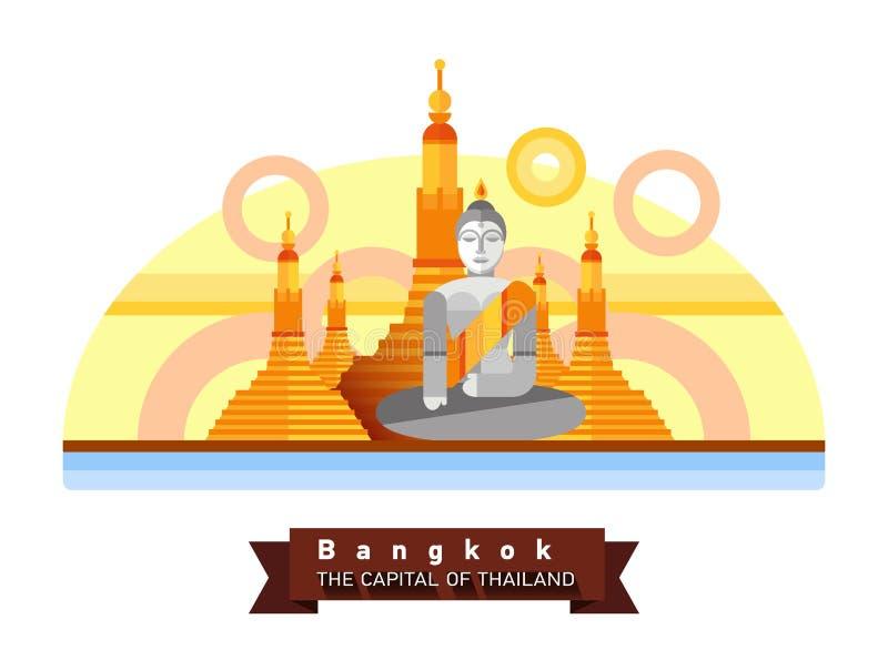 Paisaje plano de Bangkok, Tailandia de la ciudad Viaje a Asia ilustración del vector
