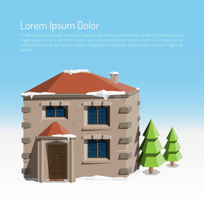 Paisaje plano de la ciudad del invierno con una casa enorme y dos árboles de navidad Ilustración coloreada del vector ilustración del vector