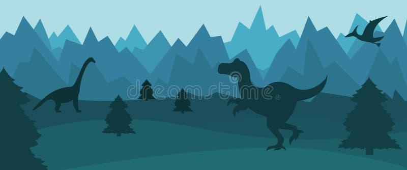 Paisaje plano de la montaña con las siluetas de dinosaurios ilustración del vector