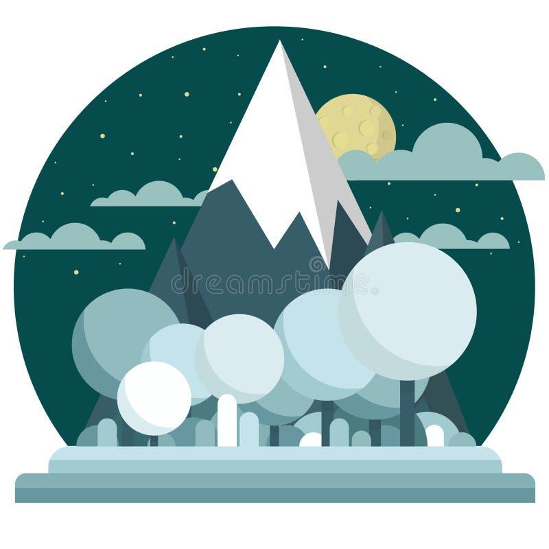 Paisaje plano de la noche del invierno del estilo Montañas, luna y estrellas lindas de la historieta en el cielo Árboles con las  libre illustration