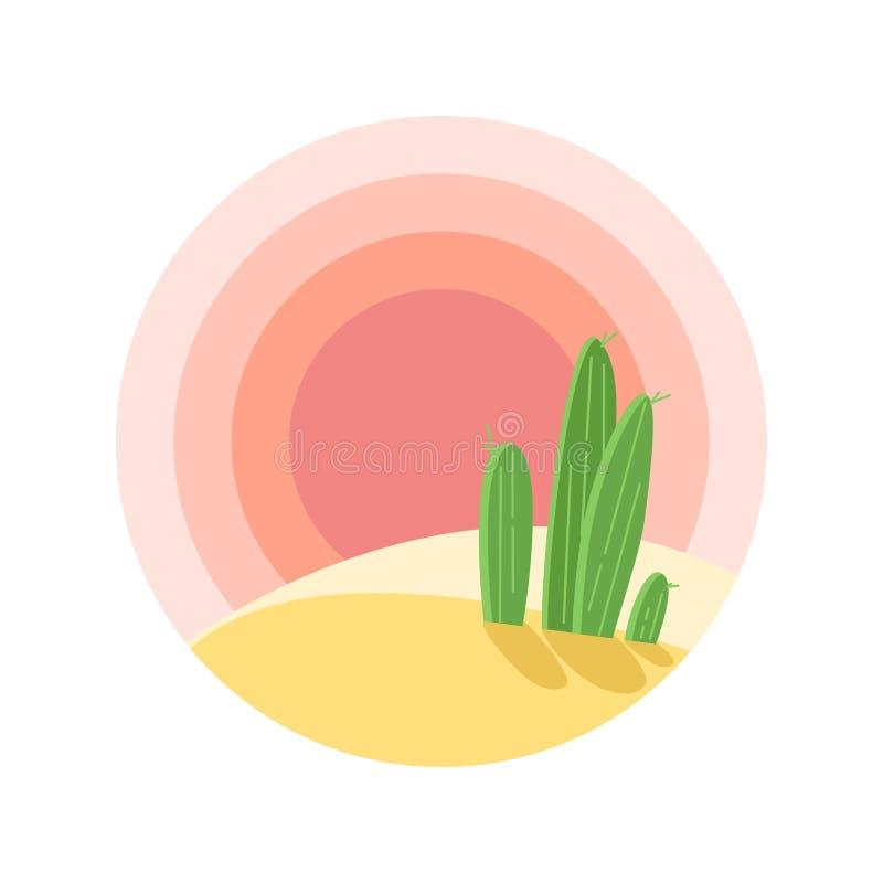 Paisaje plano de la puesta del sol del desierto de la historieta con el cactus en círculo stock de ilustración