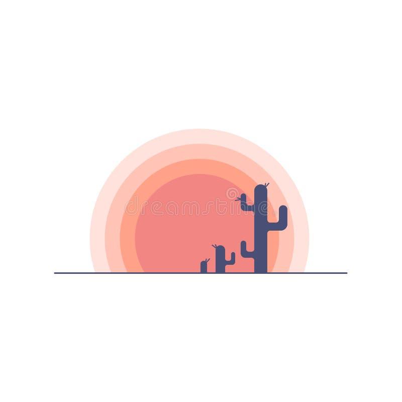 Paisaje plano de la puesta del sol del desierto de la historieta con la silueta del cactus ilustración del vector