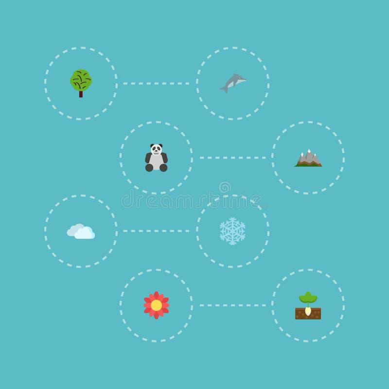 Paisaje plano de los iconos, oso, elementos de madera del vector El sistema de símbolos planos verdes de los iconos también inclu ilustración del vector