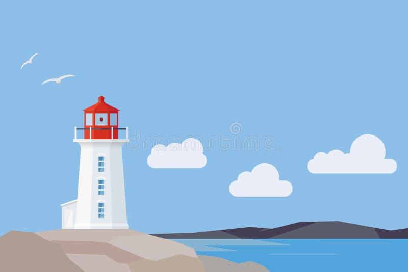 Paisaje plano de Nova Scotia del diseño con el faro de la ensenada de Peggys ilustración del vector