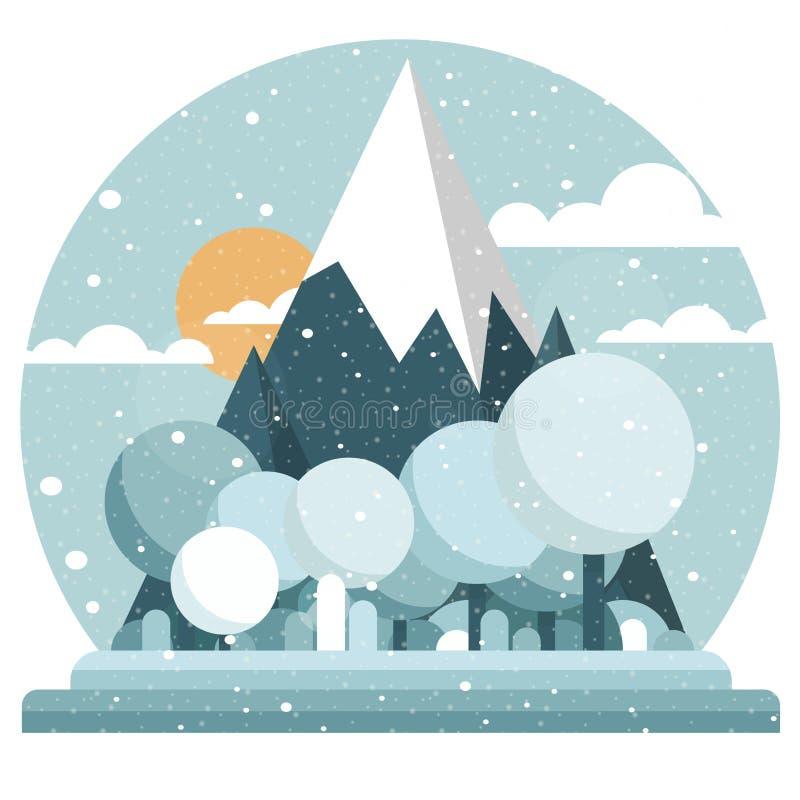 Paisaje plano del invierno del estilo Montañas, cielo y sol lindos de la historieta Árboles con las coronas redondas en el primer stock de ilustración
