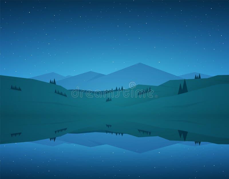 Paisaje plano del lago mountain de la noche de la historieta con la reflexión y estrellas en el cielo stock de ilustración