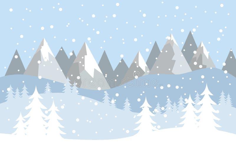 Paisaje plano del vector con las siluetas de árboles, de colinas y de montañas con nieve que cae stock de ilustración