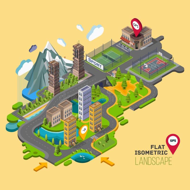 Paisaje plano del vector con parques, edificios, zona para sentarse ilustración del vector