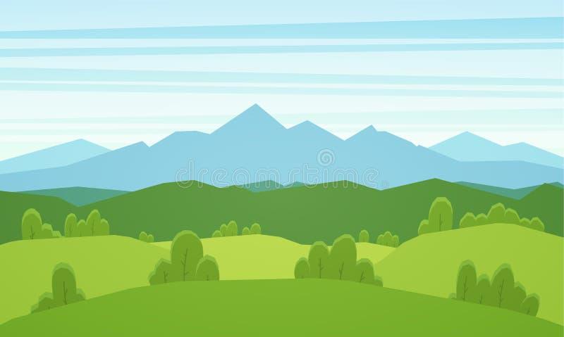 Paisaje plano del verano de las montañas de la historieta con las colinas verdes ilustración del vector