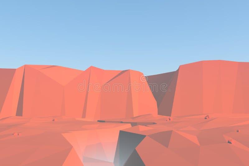 Paisaje polivinílico bajo del barranco de las rocas rojas con los acantilados libre illustration