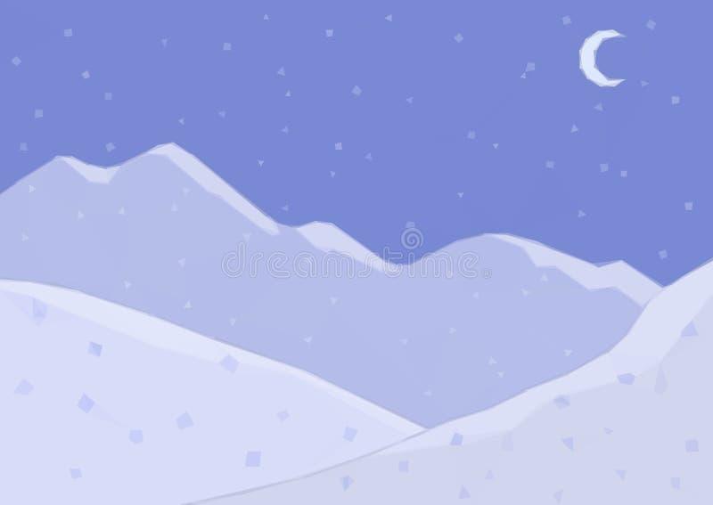 Paisaje polivinílico bajo, montaña de la noche stock de ilustración