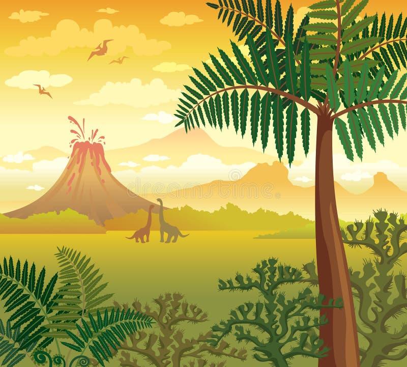 Paisaje prehistórico con los dinosaurios, el volcán y las plantas stock de ilustración