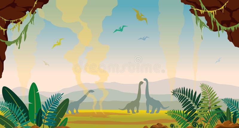 Paisaje prehistórico de la naturaleza con la cueva, los dinosaurios y el helecho ilustración del vector