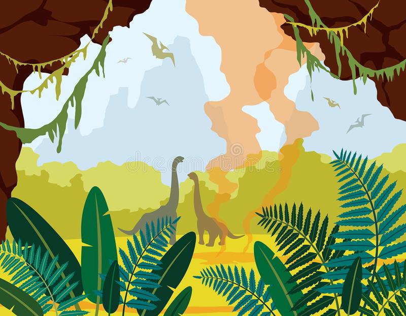 Paisaje prehistórico de la naturaleza con la cueva, los dinosaurios y las plantas ilustración del vector