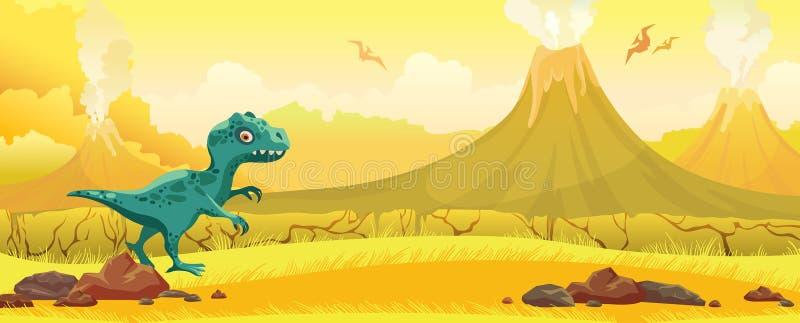 Paisaje prehistórico de la naturaleza - tyrannosaur, pterodáctilo, volcan ilustración del vector