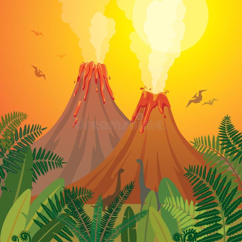 Paisaje prehistórico de la naturaleza - volcanes, dinosaurios, helecho ilustración del vector