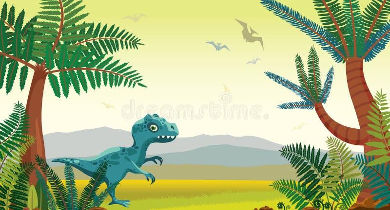 Paisaje prehistórico de la naturaleza - volcanes, dinosaurios, montañas, ilustración del vector