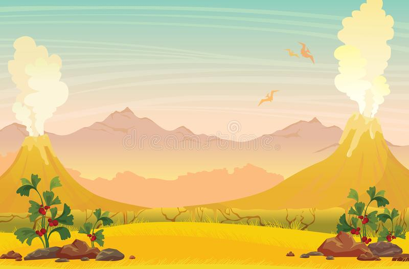 Paisaje prehistórico de la naturaleza - volcanes, pterodáctilos y soporte stock de ilustración