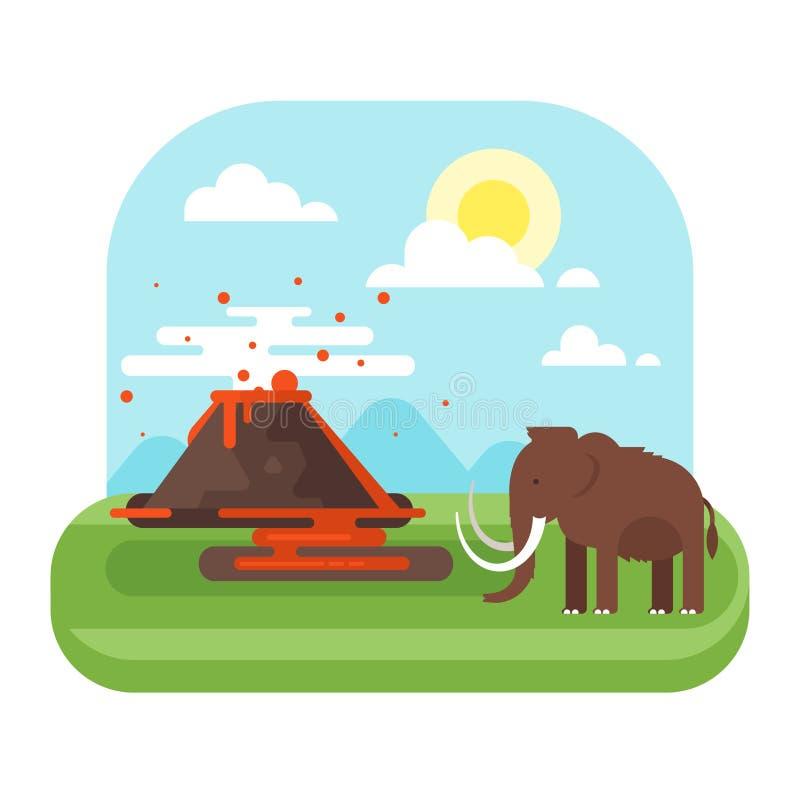 Paisaje prehistórico y volcán con el mamut ilustración del vector