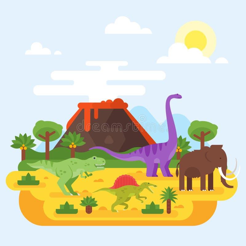 Paisaje prehistórico y volcán con los dinosaurios stock de ilustración