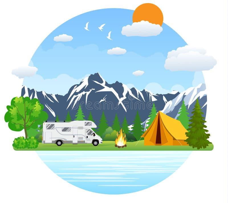 Paisaje que acampa del bosque con el autobús del viajero de rv en diseño plano stock de ilustración