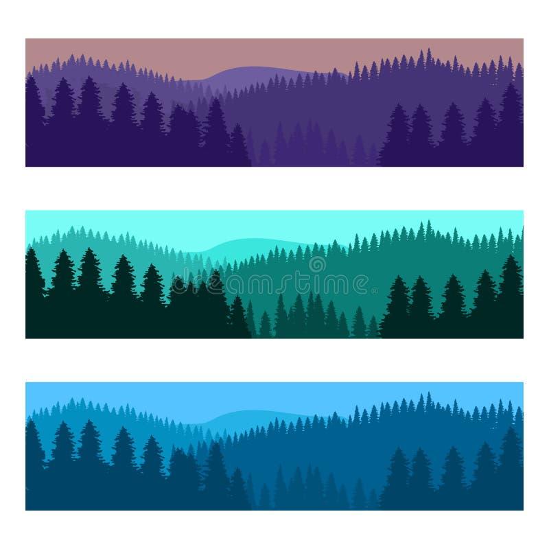 Paisaje realista horizontal del bosque con los ?rboles y las siluetas de las monta?as stock de ilustración