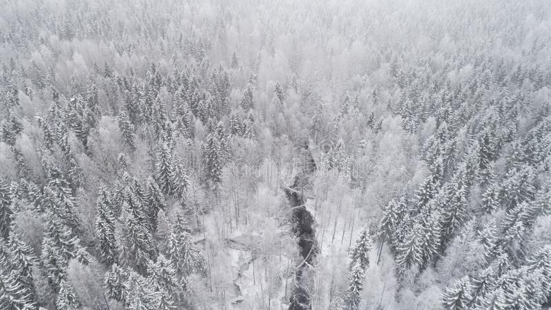 Paisaje a?reo del invierno Paisaje nevoso hermoso con la corriente congelada foto de archivo