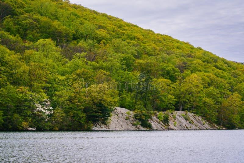 Paisaje rocoso a lo largo del lago hessian, en el parque de estado de la monta?a del oso, Nueva York imágenes de archivo libres de regalías