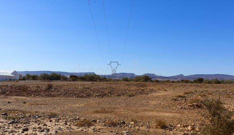 Paisaje rocoso marroquí del desierto con las plantas y la cordillera imagenes de archivo