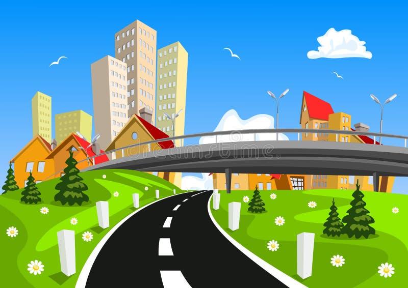 Paisaje rodeado ciudad del vector por naturaleza con el puente stock de ilustración