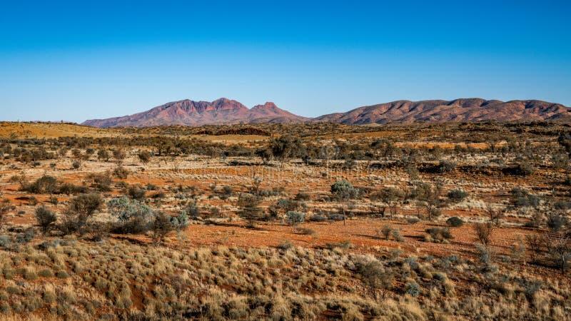 Paisaje rojo del centro con la vista distante del soporte Sonder NT interior Australia fotografía de archivo libre de regalías