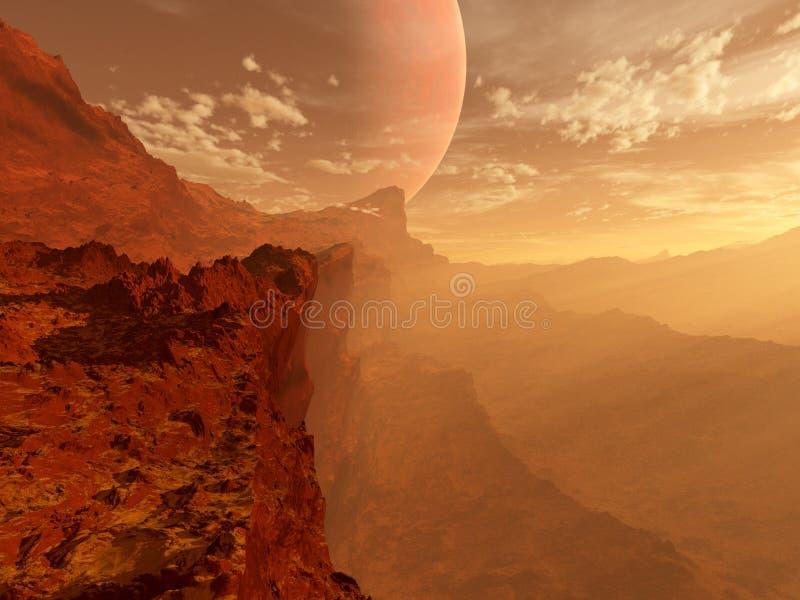 Paisaje rojo del planeta stock de ilustración