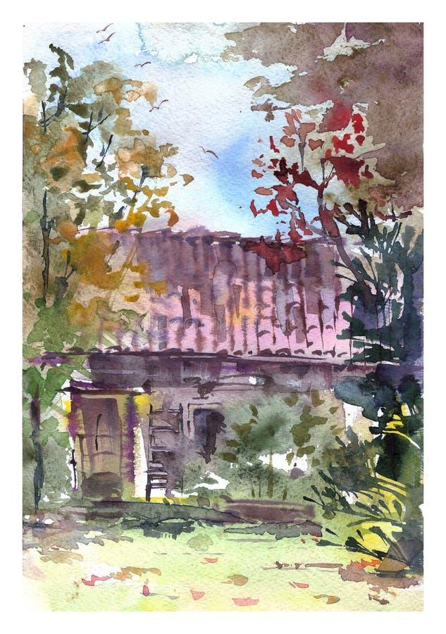 Paisaje romántico acogedor de la caída de la acuarela Casa de campo en el jardín del otoño stock de ilustración