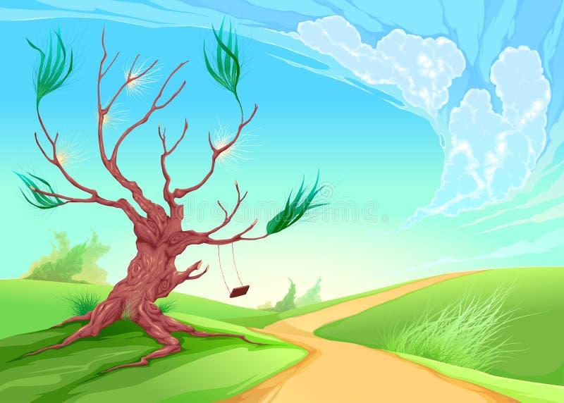 Paisaje romántico con el árbol libre illustration