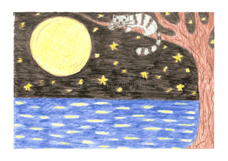Paisaje romántico de la noche con el gato en rama de libre illustration