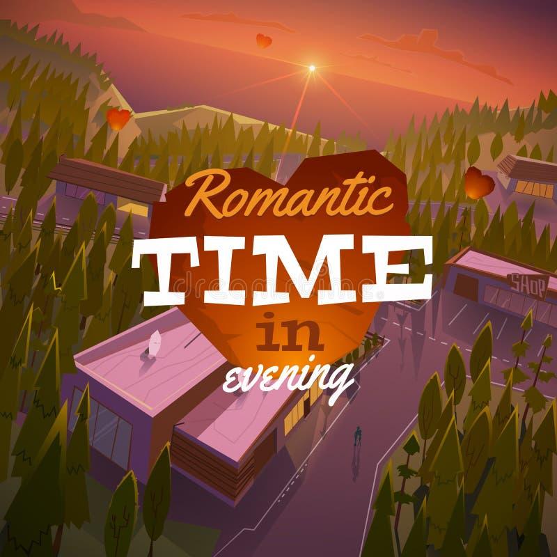 Paisaje romántico por la tarde ilustración del vector