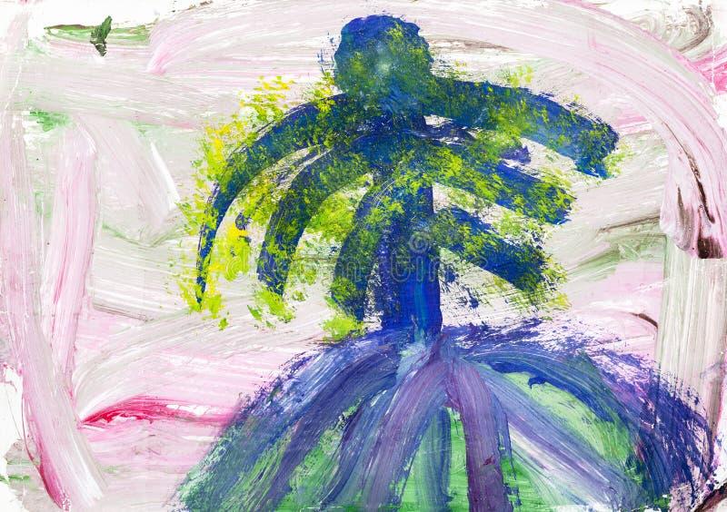 Paisaje rosado abstracto con la palmera azul stock de ilustración