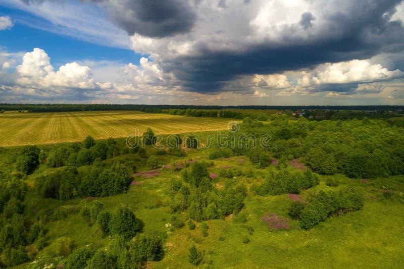 Paisaje rural antes de la tempestad de truenos en julio aérea Regi?n de Leningrad fotos de archivo