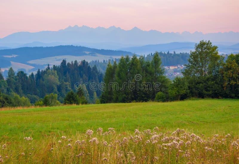 Paisaje rural cerca del lago artificial Czorsztynskie en Polonia meridional Altas montañas de Tatra en fondo fotos de archivo libres de regalías