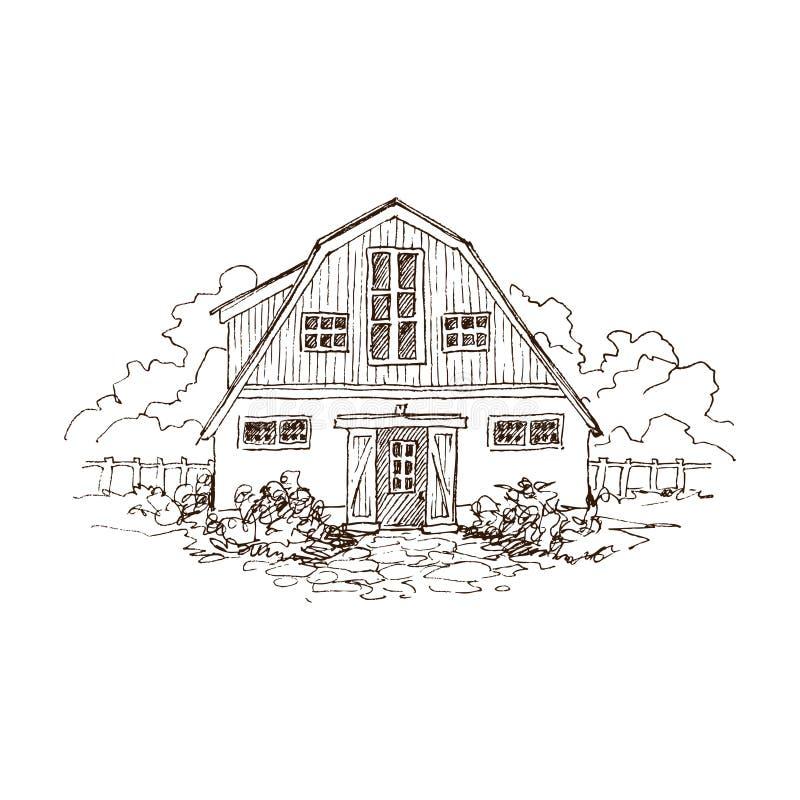 Paisaje rural con el cortijo y el jardín viejos Ejemplo dibujado mano en estilo del vintage Granero residencial grande con a stock de ilustración